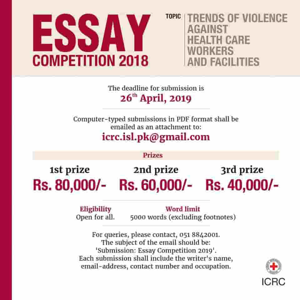 ICRC Red Cross Essay Competition 2019 Win Rs. 80,000